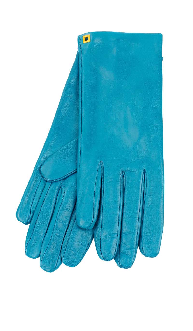 Women glove Classic Silk Lined Peacock Blue