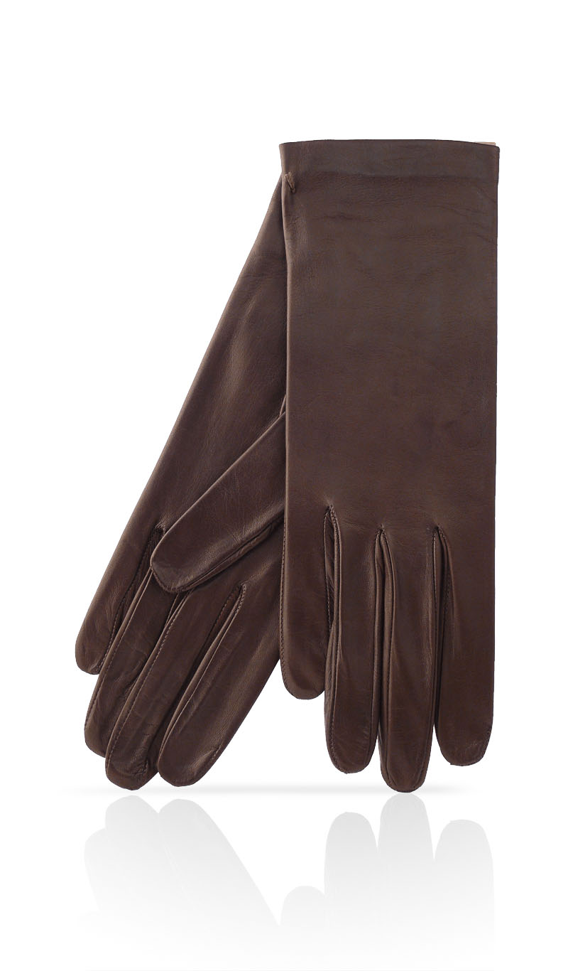Women glove Classic Silk Lined Dark Brown