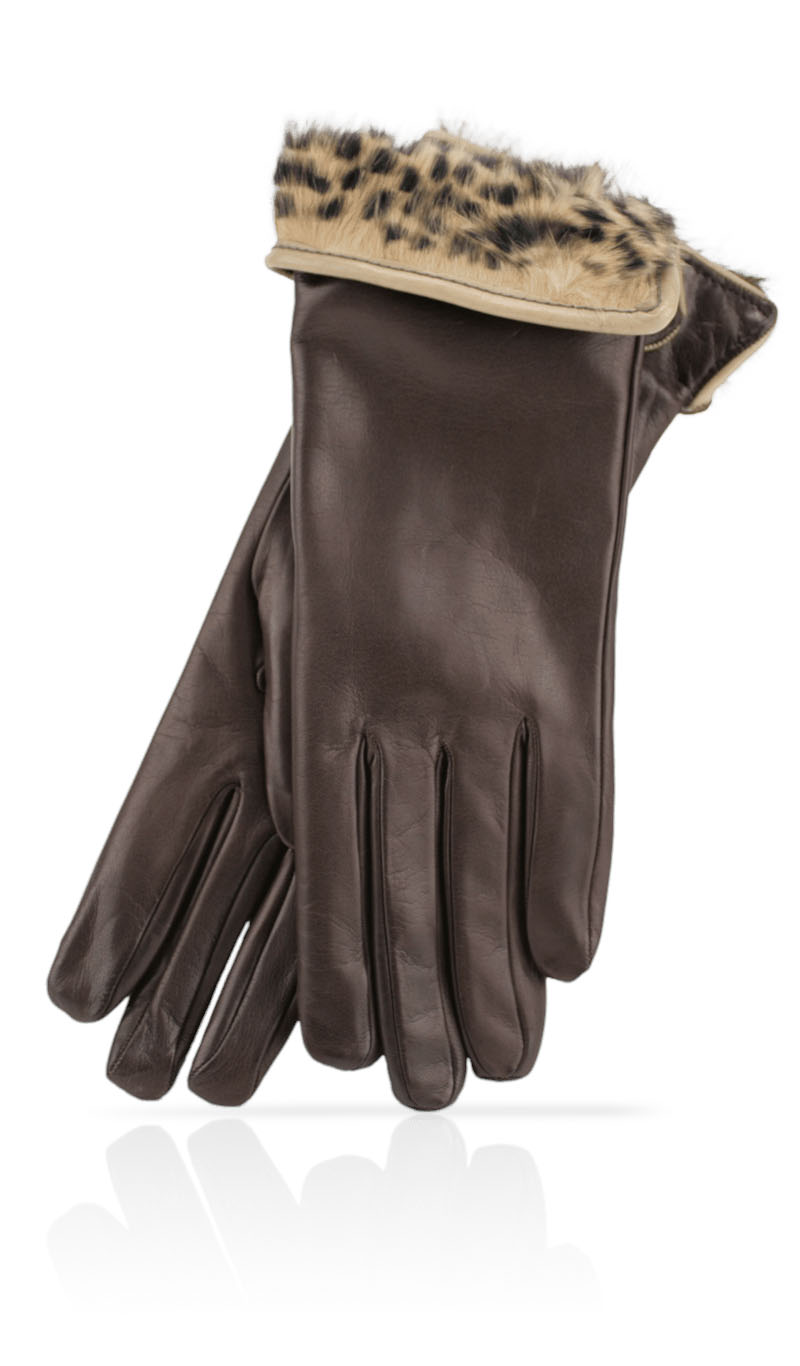 Women glove 3 In. Rabbit Fur Lined Dark Brown/Spotted Beige