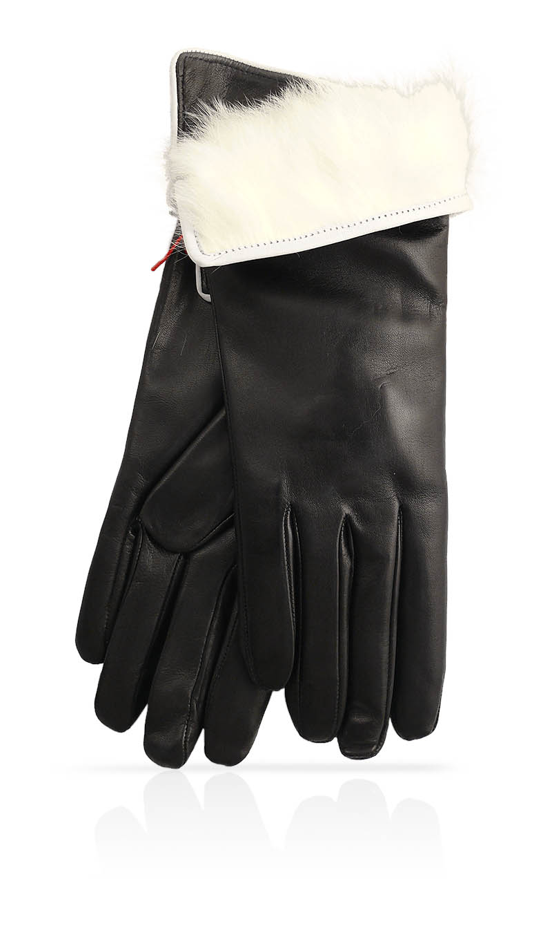 12d411eaba2d Women glove 3 In. Rabbit Fur Lined Black White gLOVEme