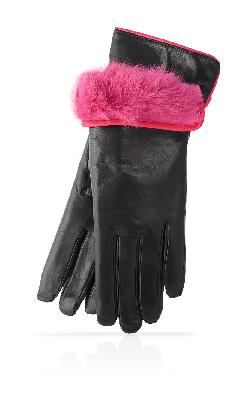 e1fbd0b8f429 Women glove 3 In. Rabbit Fur Lined Black Fuchsia gLOVEme