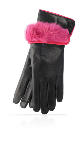 3 In. Rabbit Fur Lined Black/Fuchsia