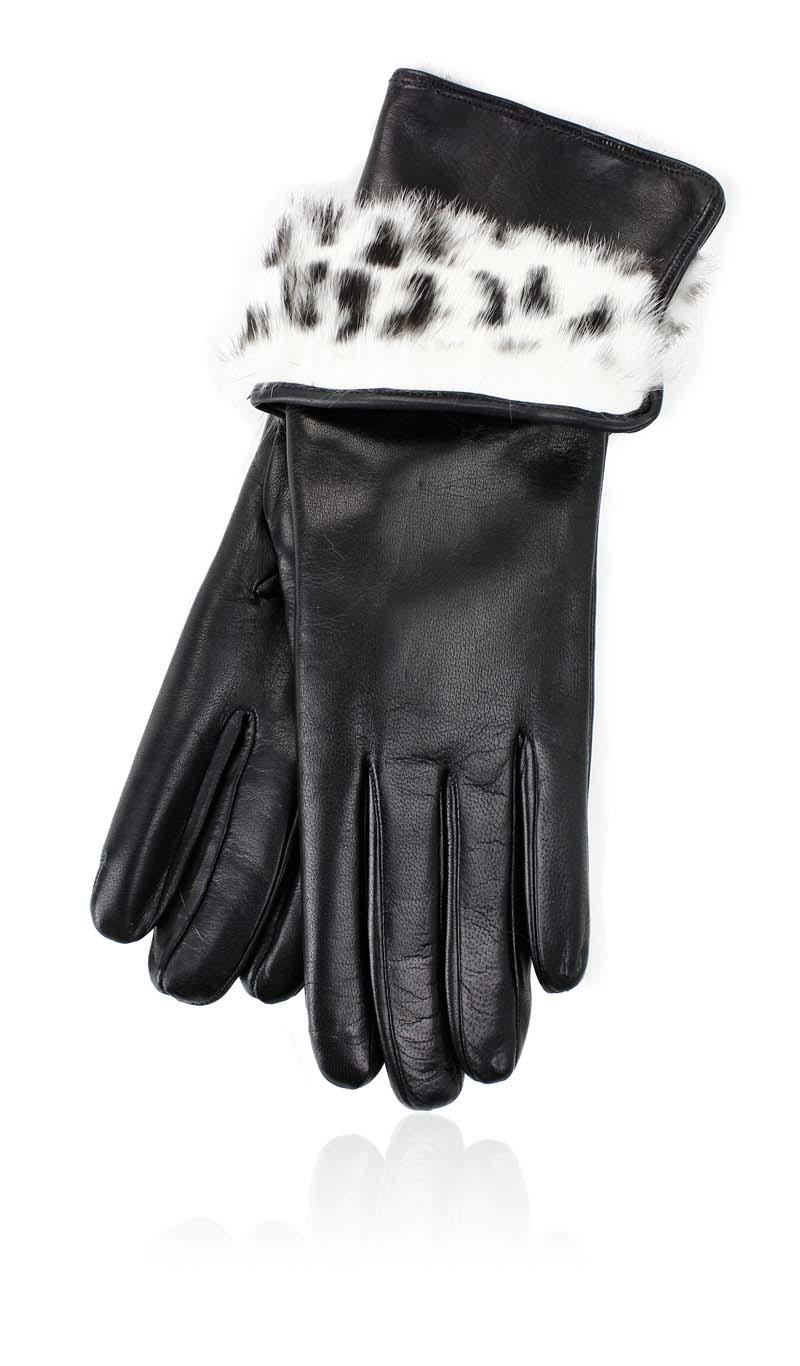 1233e4b54d86 Women glove 3 In. Rabbit Fur Lined Black Spotted White gLOVEme