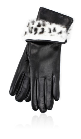 3 In. Rabbit Fur Lined Black/Spotted White