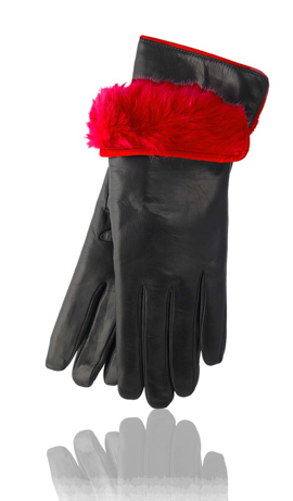 3 In. Rabbit Fur Lined Black/Gucci Red