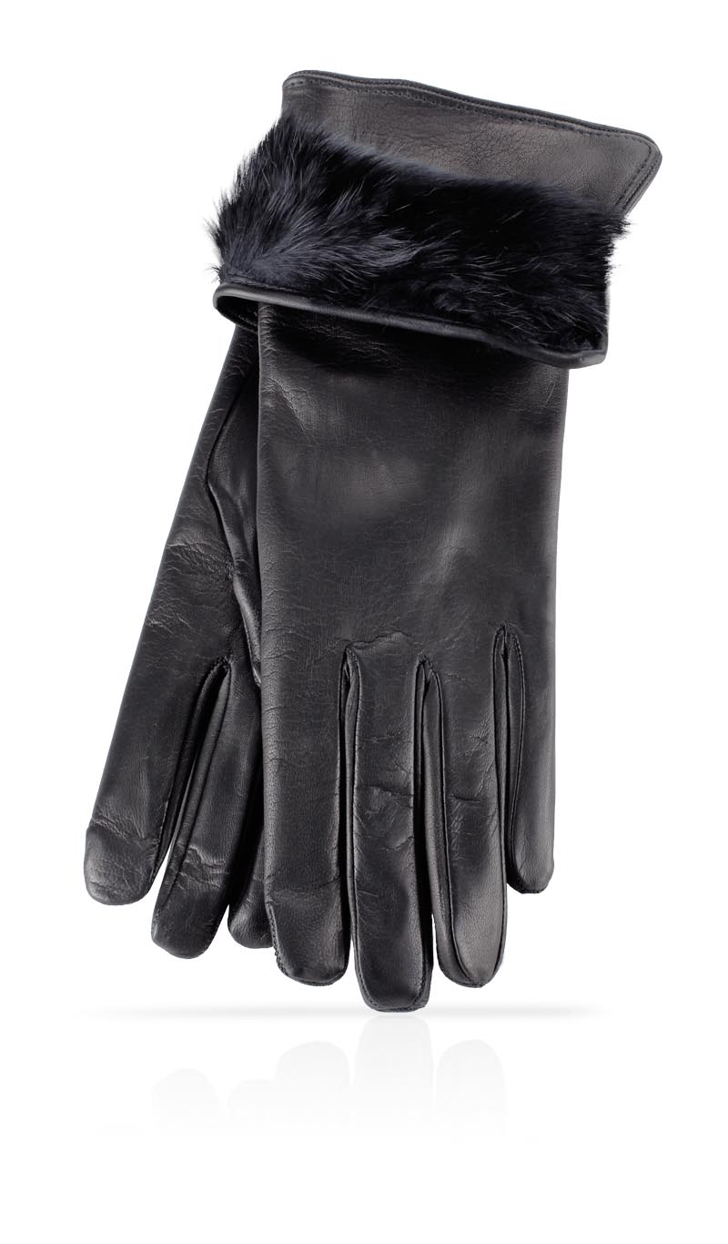 1a985942a624 Women glove 3 In. Rabbit Fur Lined Black Black gLOVEme