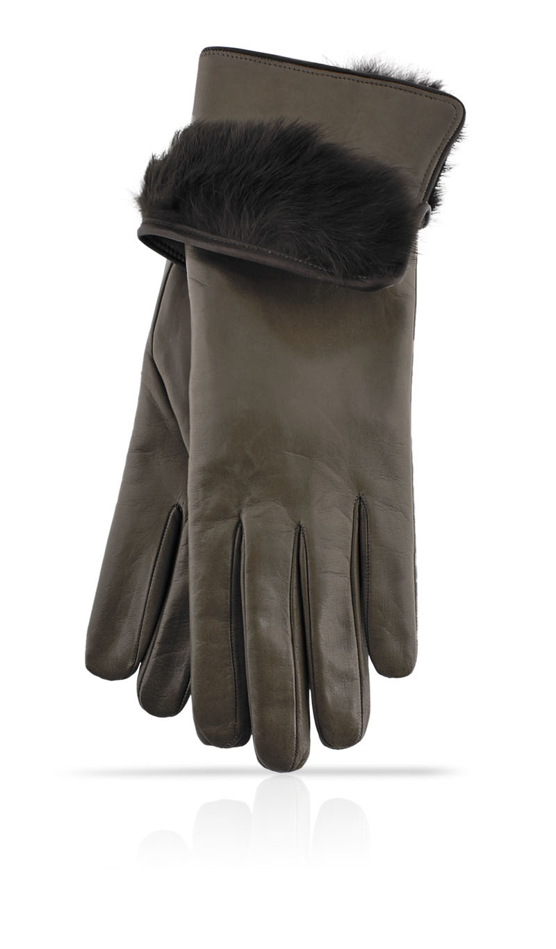 Women glove 3 In. Rabbit Fur Lined Mud