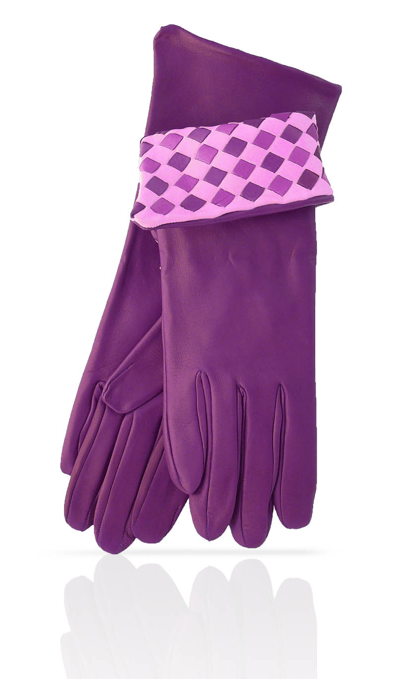 Women glove 4 In. Interlaced Silk Lined Eggplant Purple/Lilac
