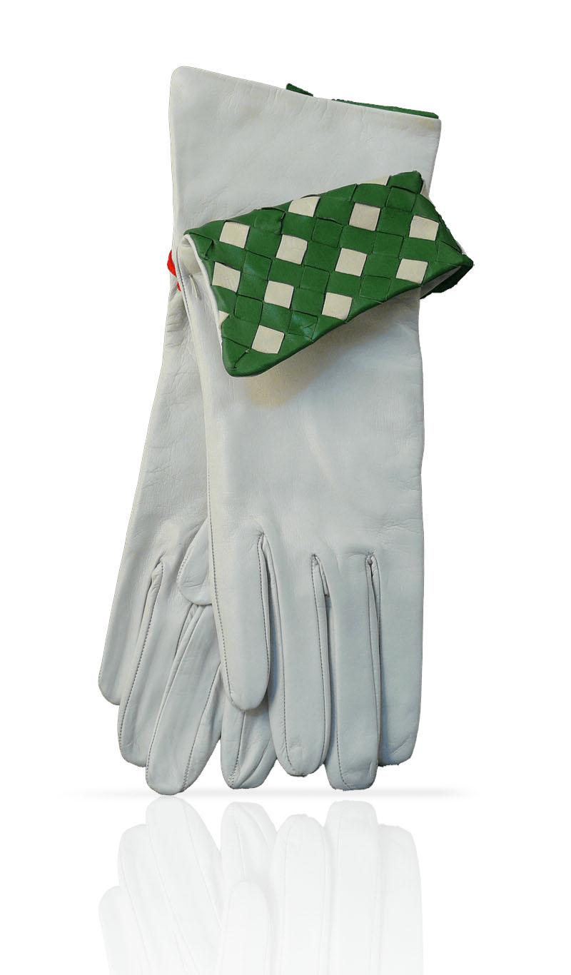 51d1cdc80b40 Women glove 4 In. Interlaced Silk Lined White Field Green gLOVEme