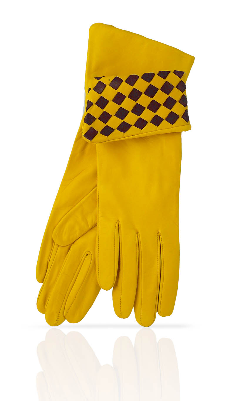 Women glove 4 In. Interlaced Silk Lined Sun Yellow/Dark Brown