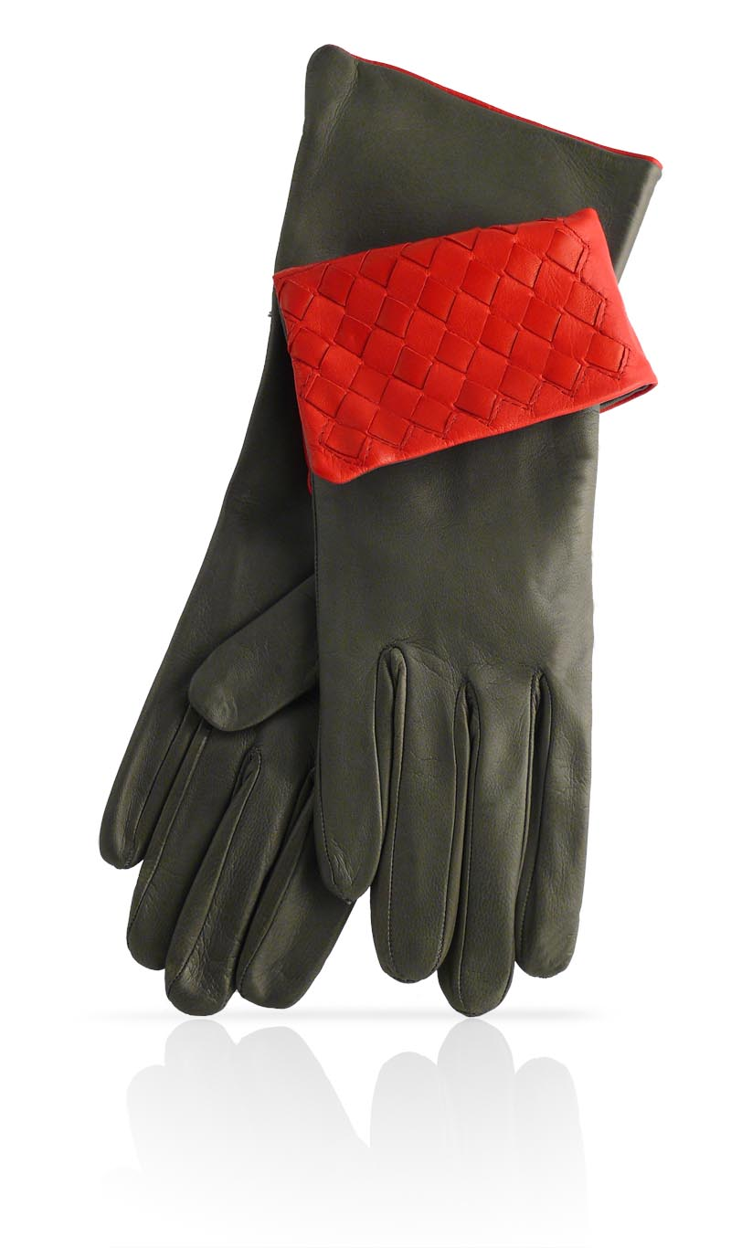 Women glove 4 In. Interlaced Silk Lined Slate Grey/Valentino Red
