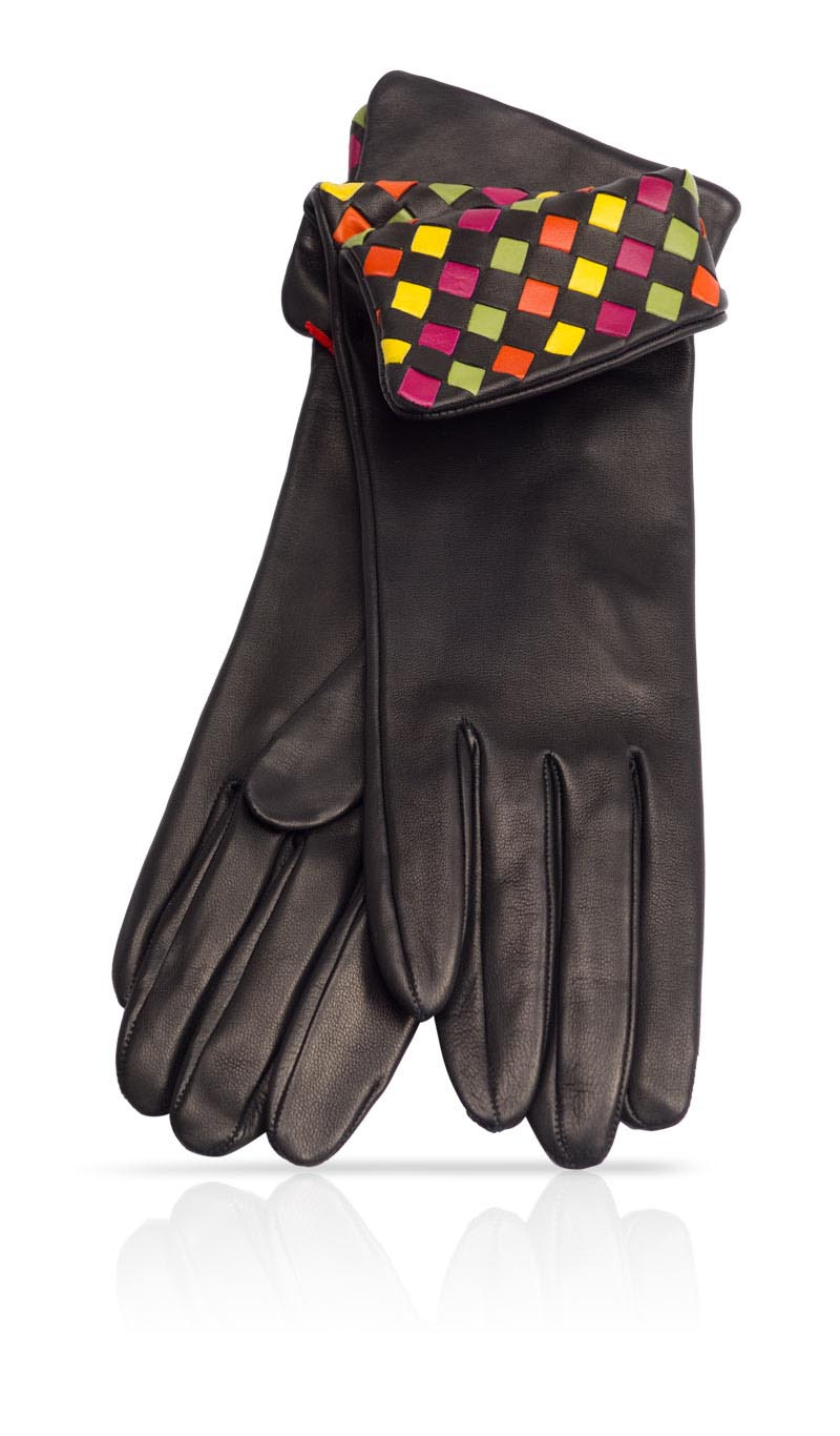 Women glove 4 In. Interlaced Silk Lined Black/Harlequin
