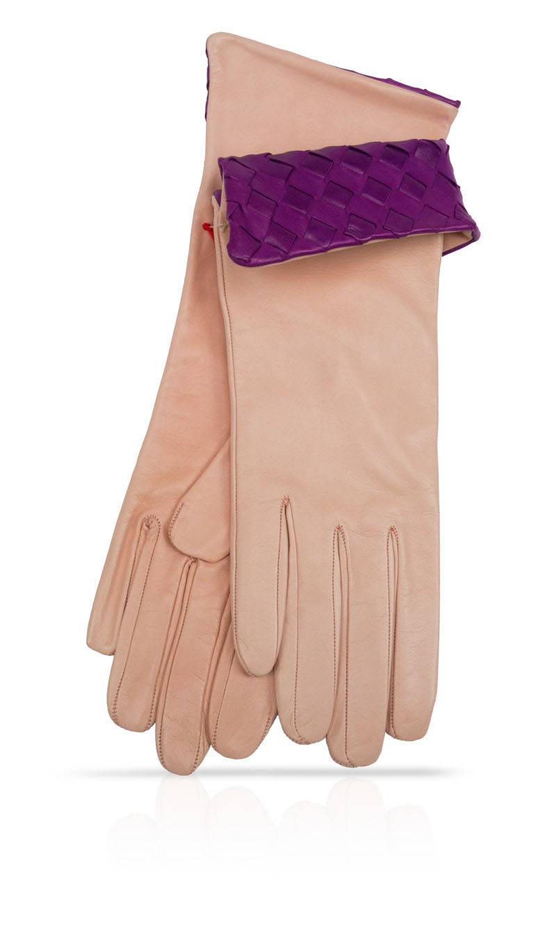 Women glove 4 In. Interlaced Silk Lined Baby Pink/Lilac