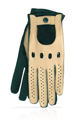 Woman Driving Gloves Unlined Beige/Hunter Green