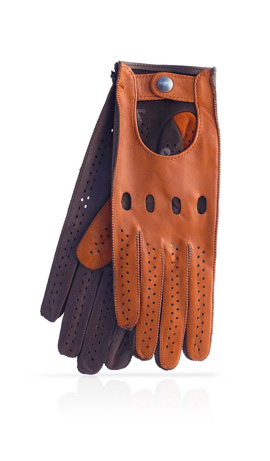 Woman Driving Gloves Unlined Tan/Dark Brown