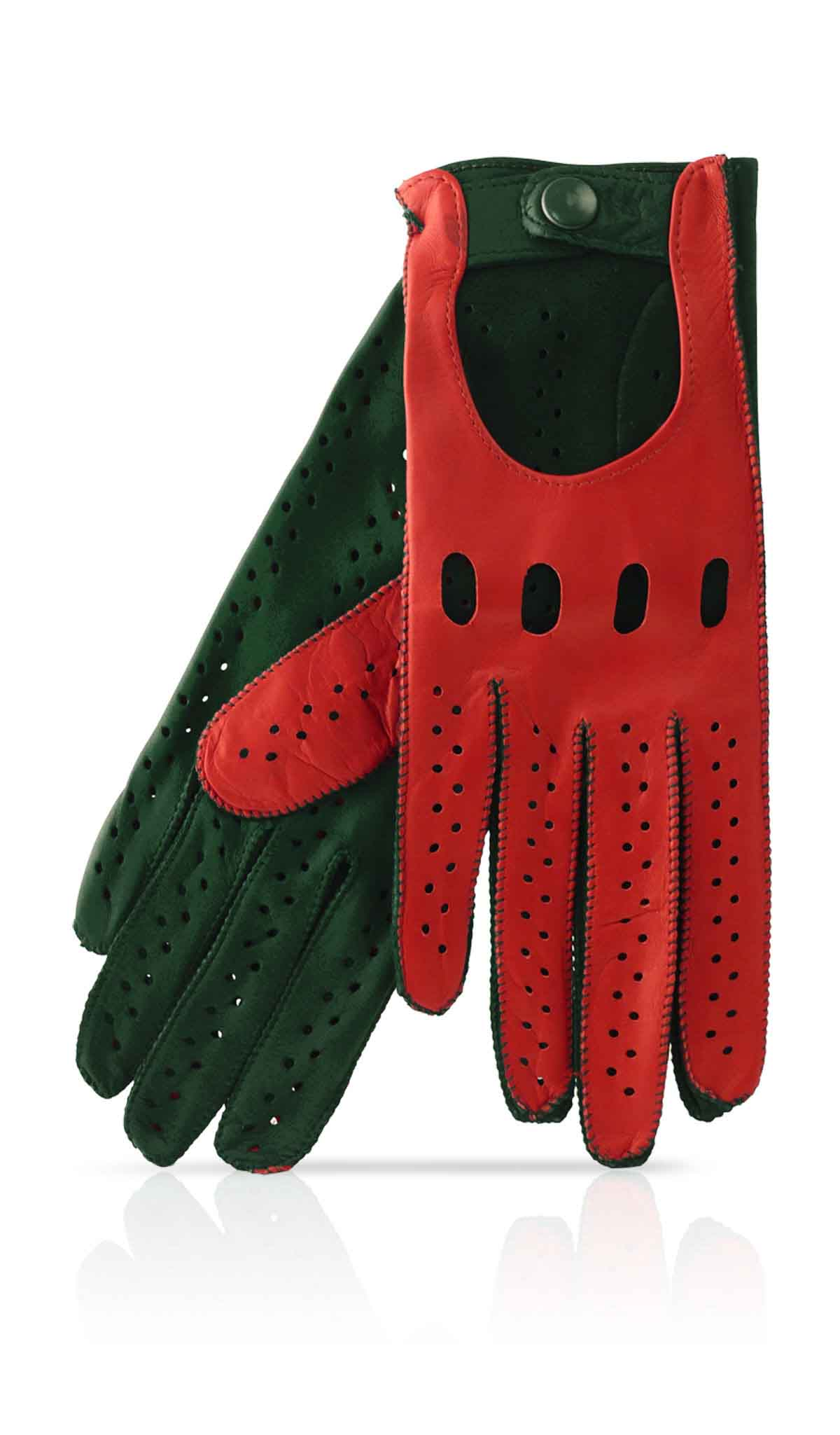 Women glove Woman Driving Gloves Unlined Gucci Red/Hunter Green