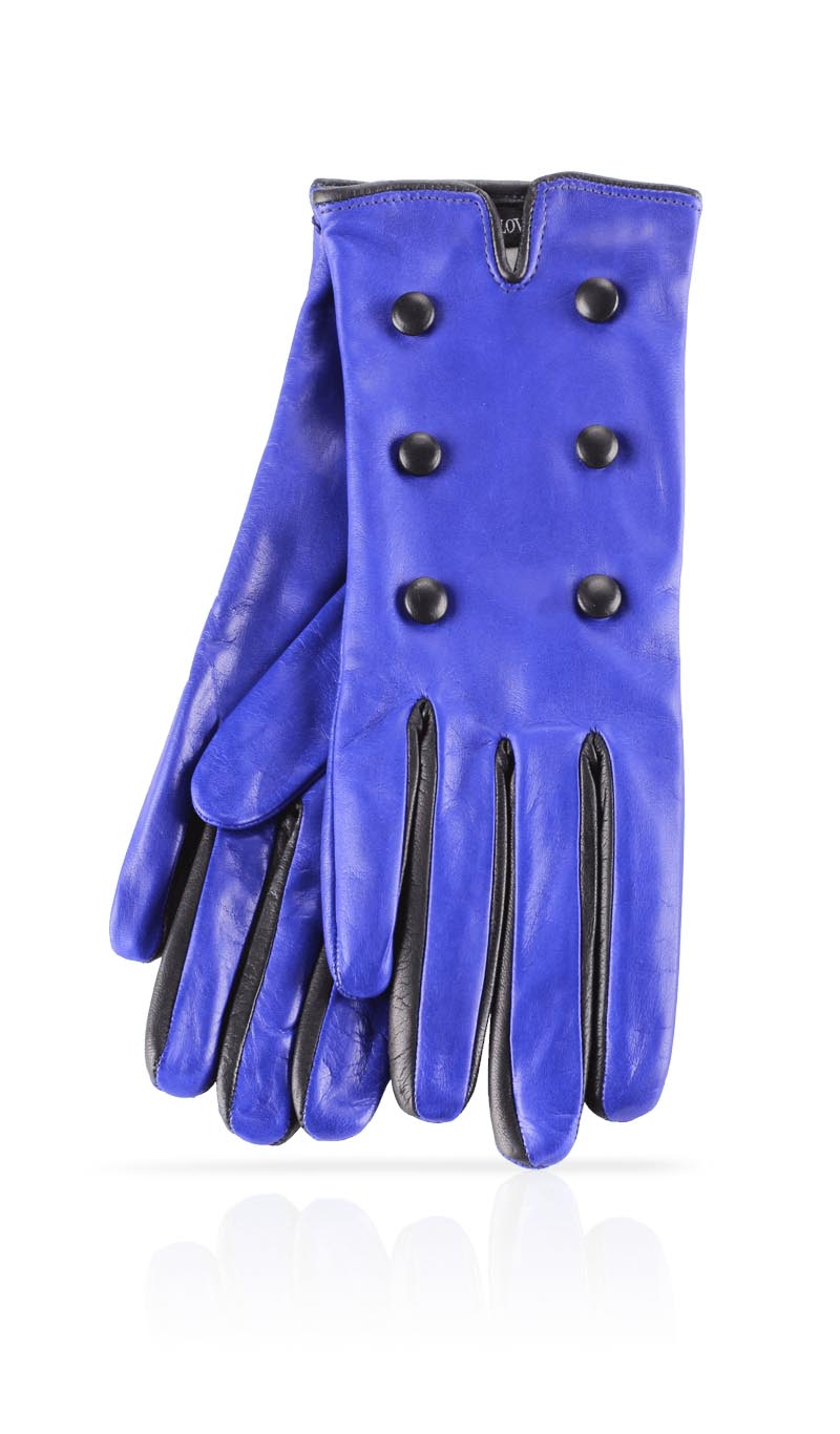 Women glove Buttons Silk Lined Electric Blue/Black