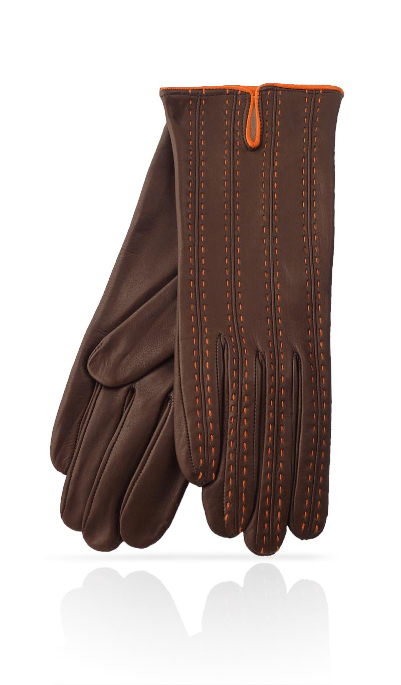 Women glove D46 Silk Lined Dark Brown/Orange