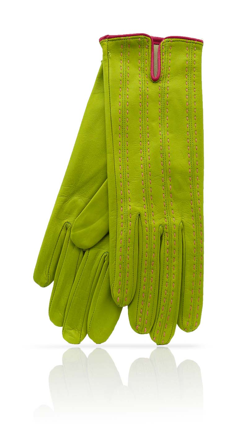 Women glove D46 Silk Lined Lime Green/Coral