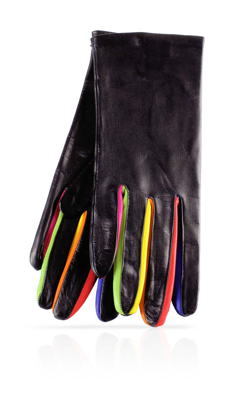 Women glove Unlined Colored Inserts Black/Harlequin