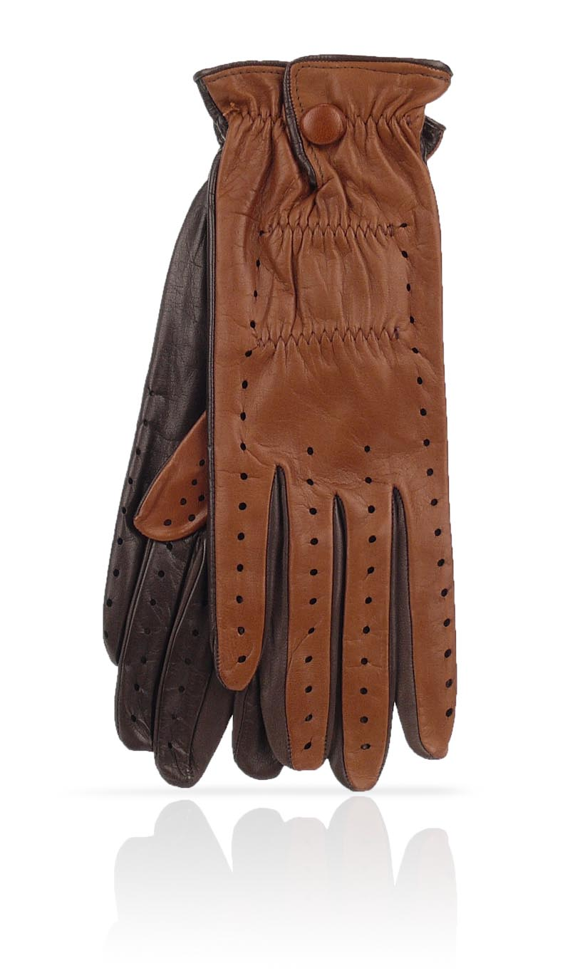 Women glove Golf Tan/Dark Brown