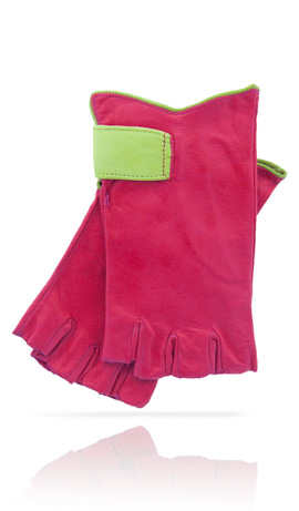 Fingerless Woman Coral/Lime Green