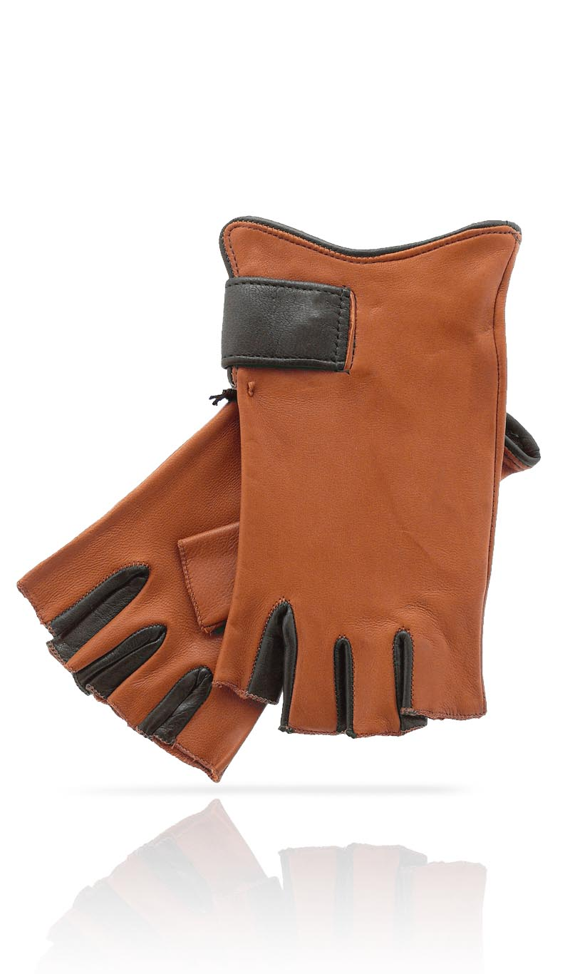 Women glove Fingerless Woman Tan/Dark Brown