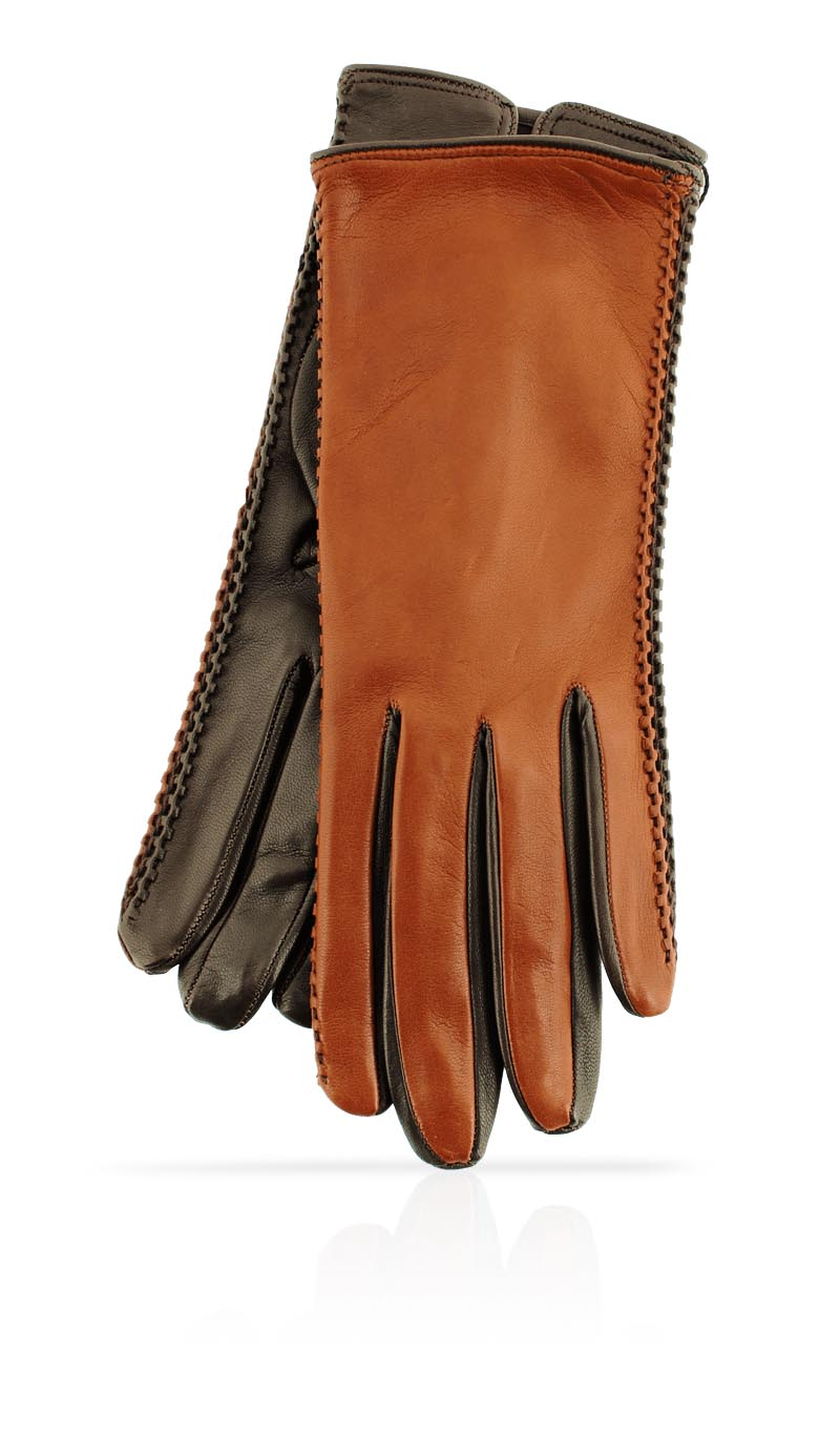 Women glove Silk Lined Pigtail Tan/Dark Brown