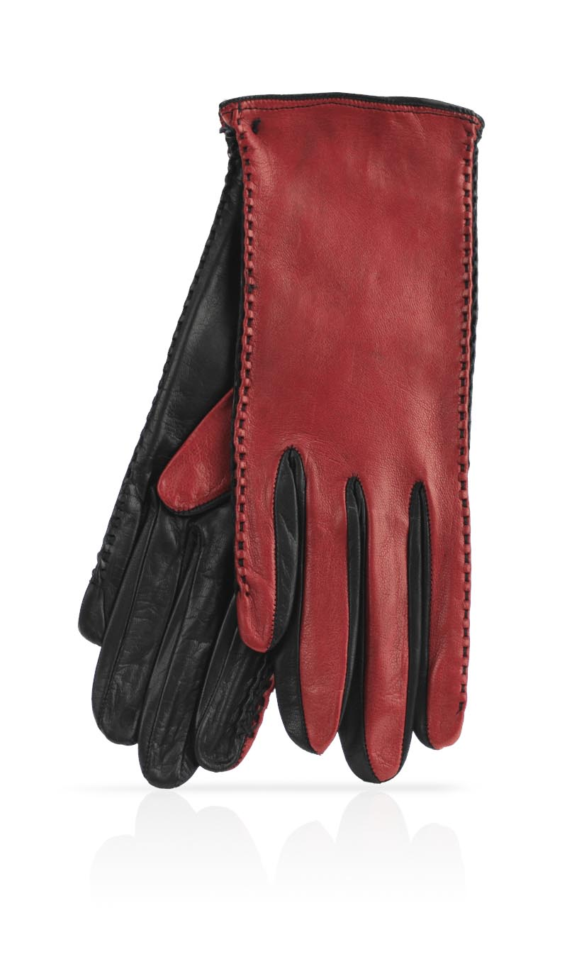 Women glove Silk Lined Pigtail Gucci Red/Black