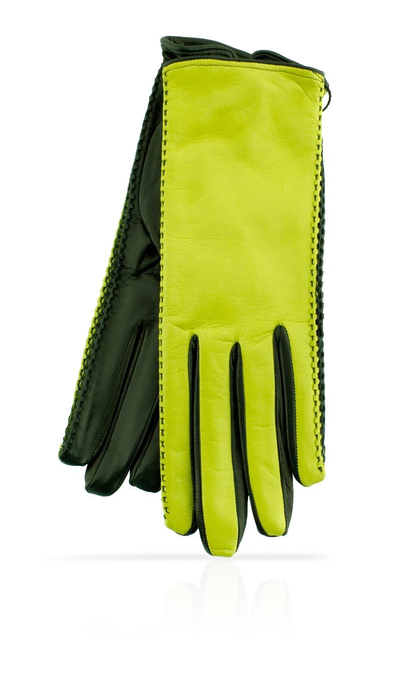 d67cdfe6a Women glove Silk Lined Pigtail Lime Green/Hunter Green gLOVEme