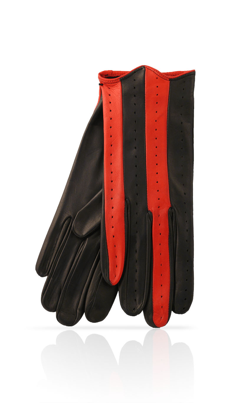 Women glove Guelfo Unlined Black/Valentino Red