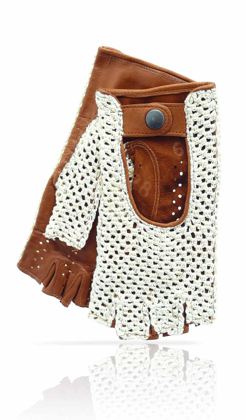 Women glove Fingerless String & Leather Beige/Tan