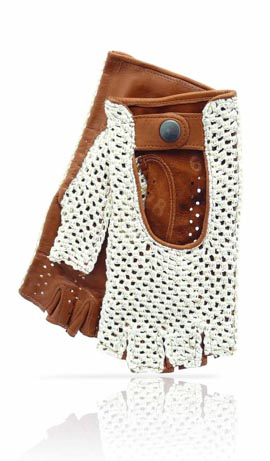 Fingerless String & Leather Beige/Tan
