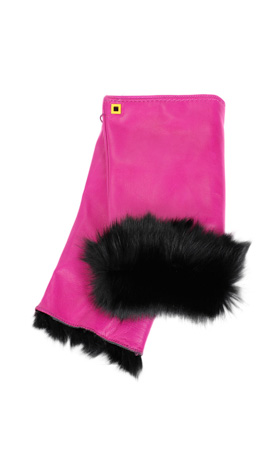 Cut Off Fingers Rabbit Fur Lined Coral/Black