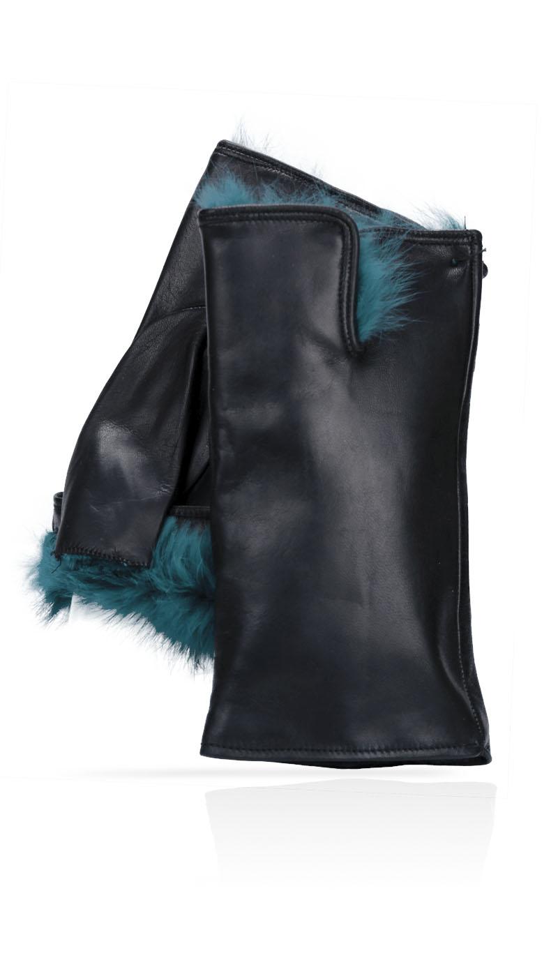 23719997306a Women glove Cut Off Fingers Rabbit Fur Lined Black Peacock Blue gLOVEme