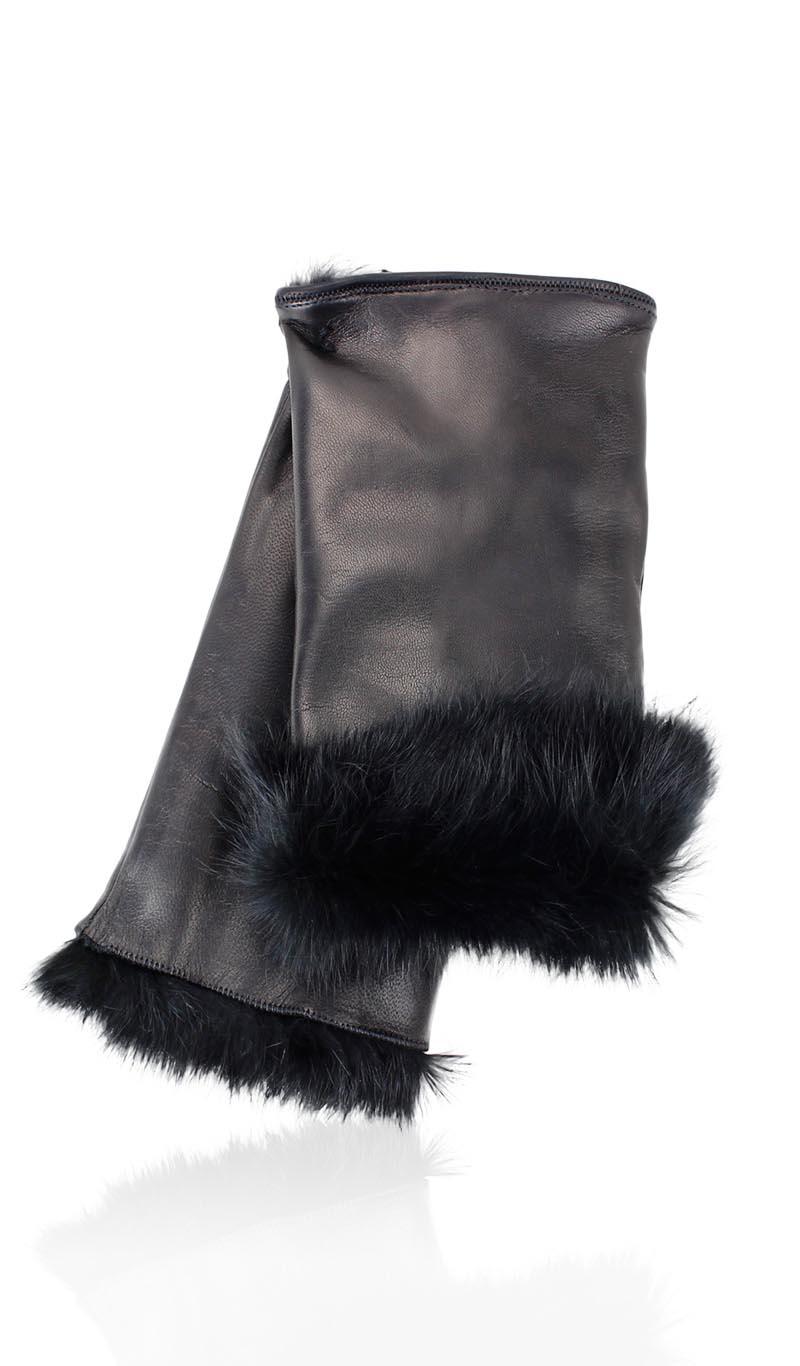 180a9859d29e Women glove Cut Off Fingers Rabbit Fur Lined Black Black gLOVEme