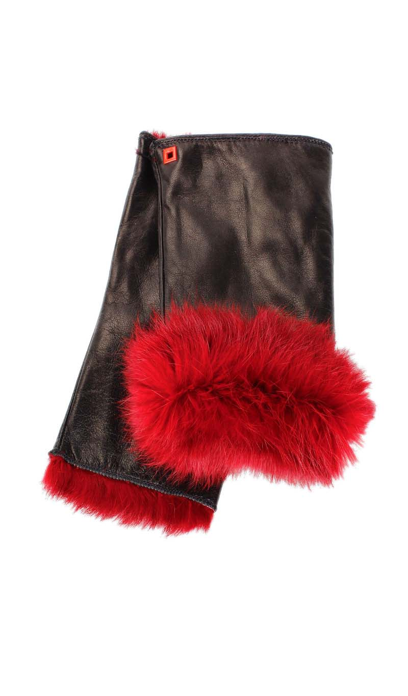 Women glove Cut Off Fingers Rabbit Fur Lined Black/Gucci Red