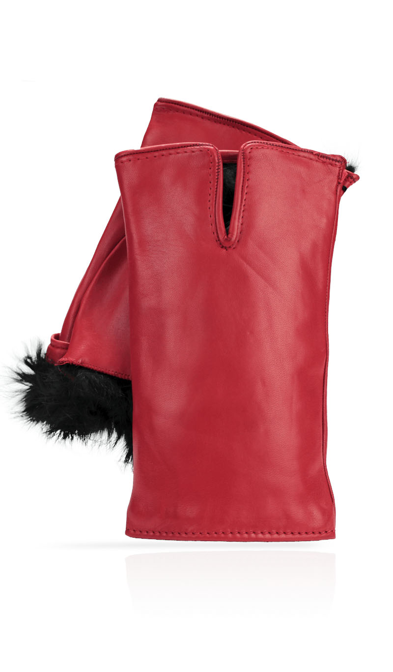 Women glove Cut Off Fingers Rabbit Fur Lined Valentino Red/Black