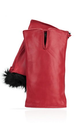 Cut Off Fingers Rabbit Fur Lined Valentino Red/Black