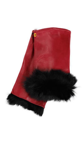 Cut Off Fingers Rabbit Fur Lined Gucci Red/Black