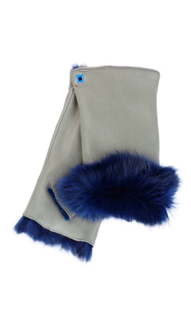 Cut Off Fingers Rabbit Fur Lined Grey/Midnight Blue