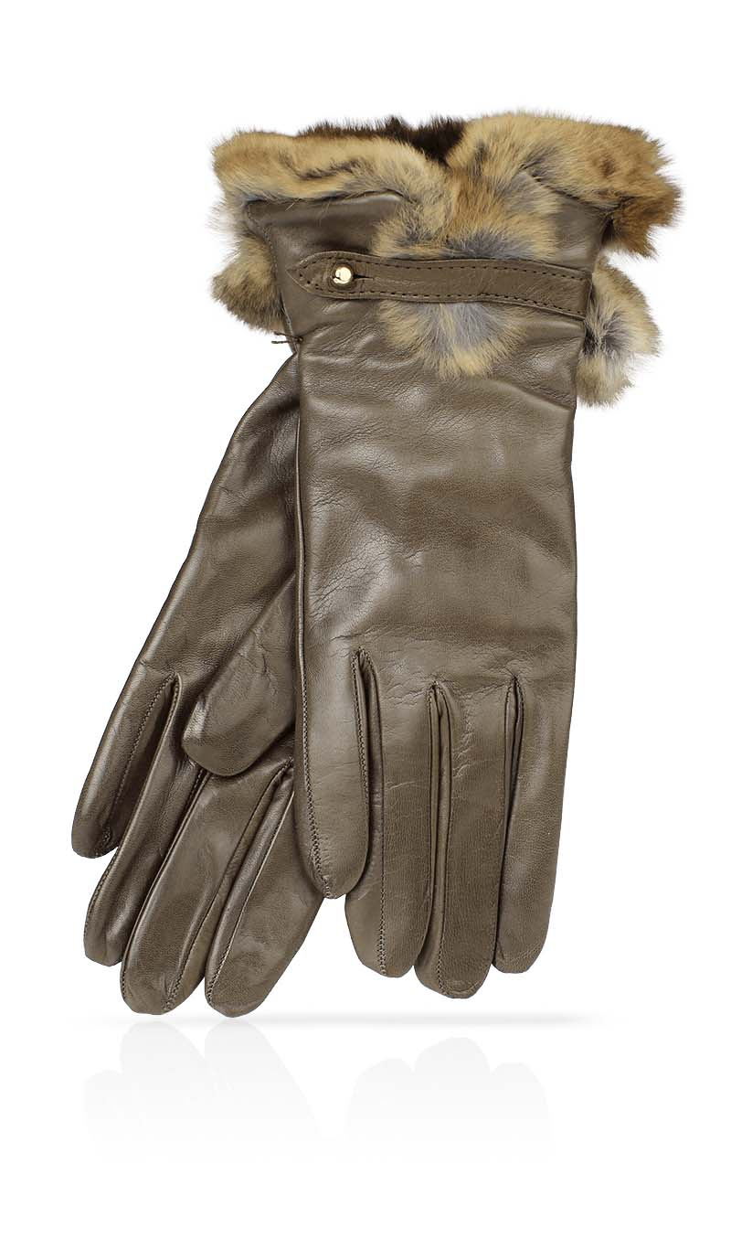 Women glove Dhalia Rex Cashmere Lined Mud/Brown
