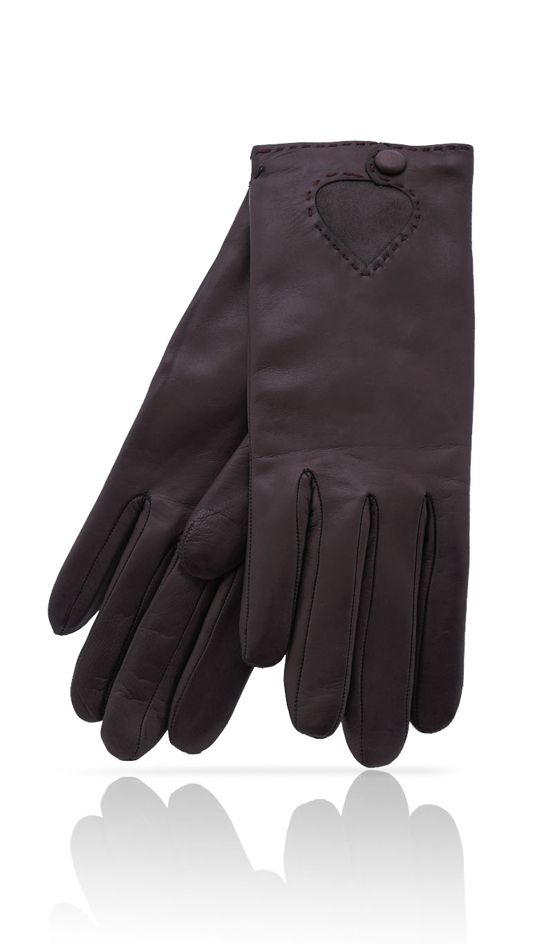 Women glove Suede Heart Taupe/Taupe