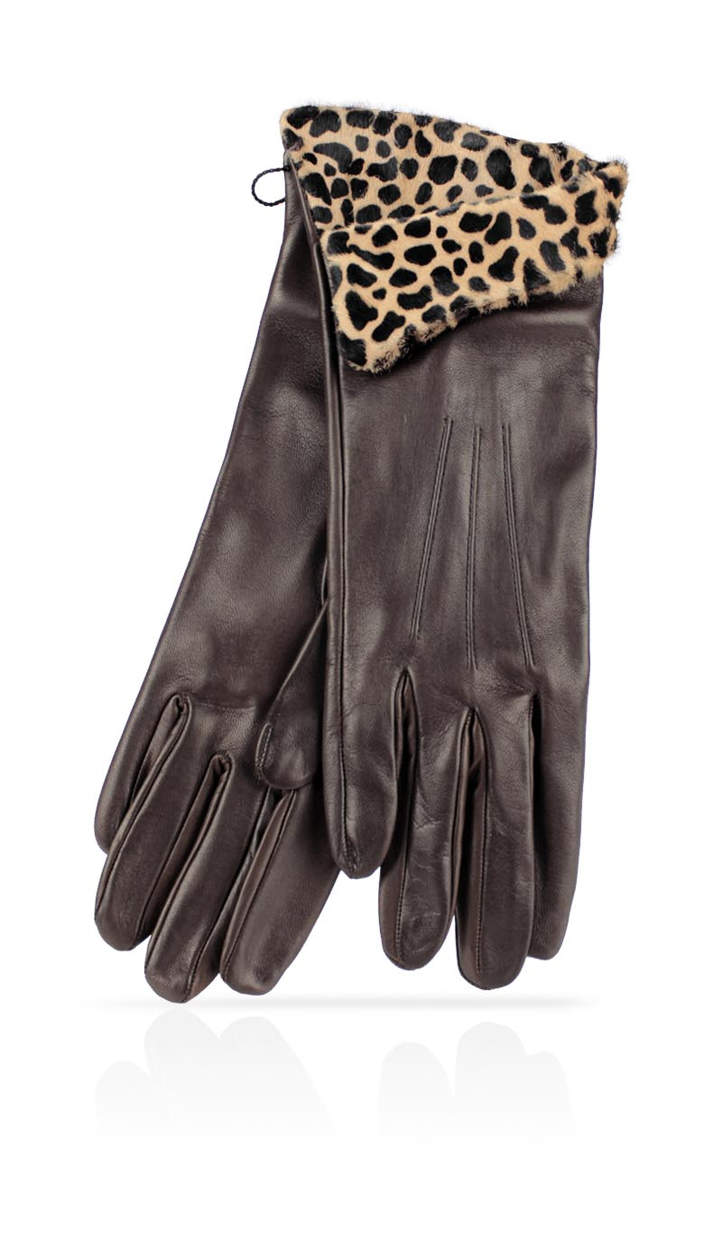 Women glove 4 In. Haircalf Silk Lined Brown/Spotted Beige