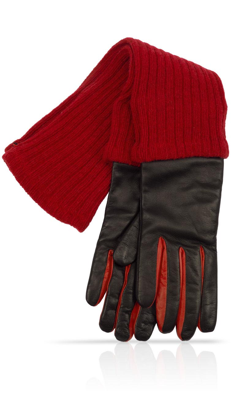 Women glove Nelly Black/Gucci Red