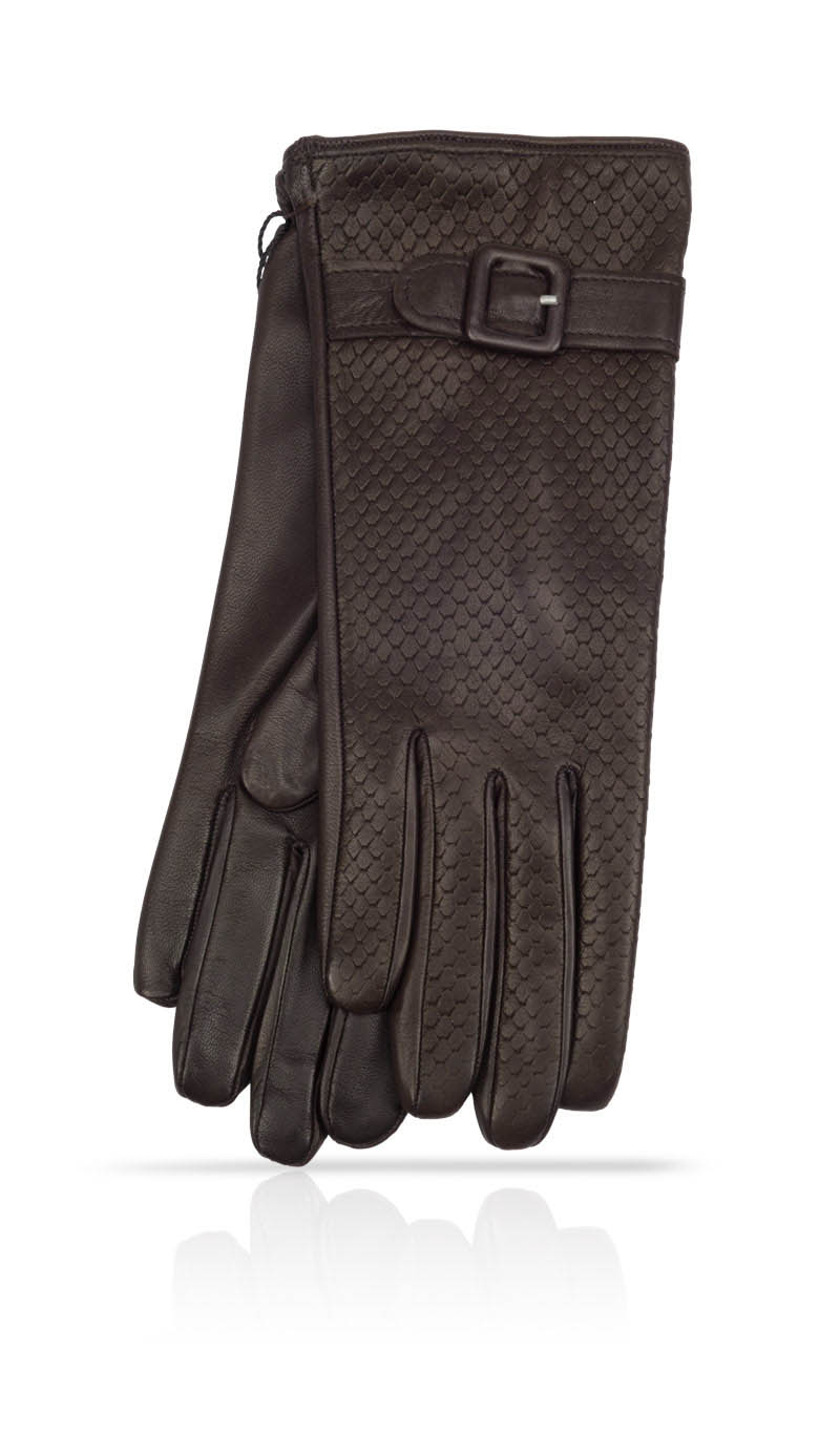 Women glove Dardy Pitone Cashmere & Silk Lined Dark Brown