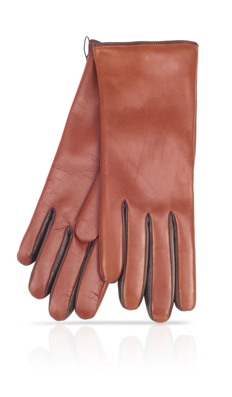 Women glove I-Glove Lady Between finger colors Cashmere Lined Tan/Dark Brown