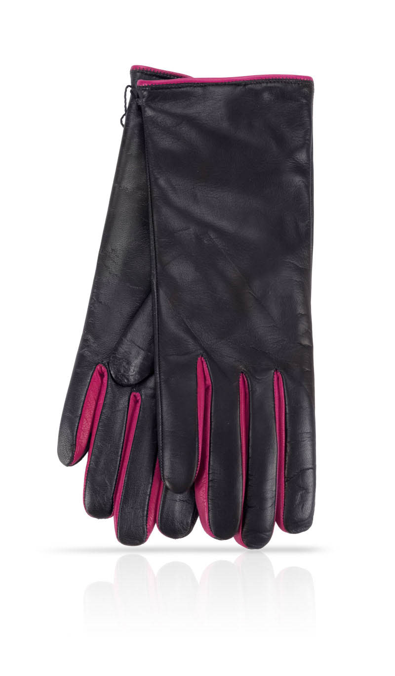 Guanto donna I-Glove Lady Forchette Fod. Cash. Nero/Corallo