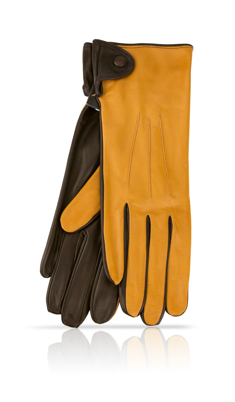 Women glove Caroline Fod. Silk Camel/Dark Brown