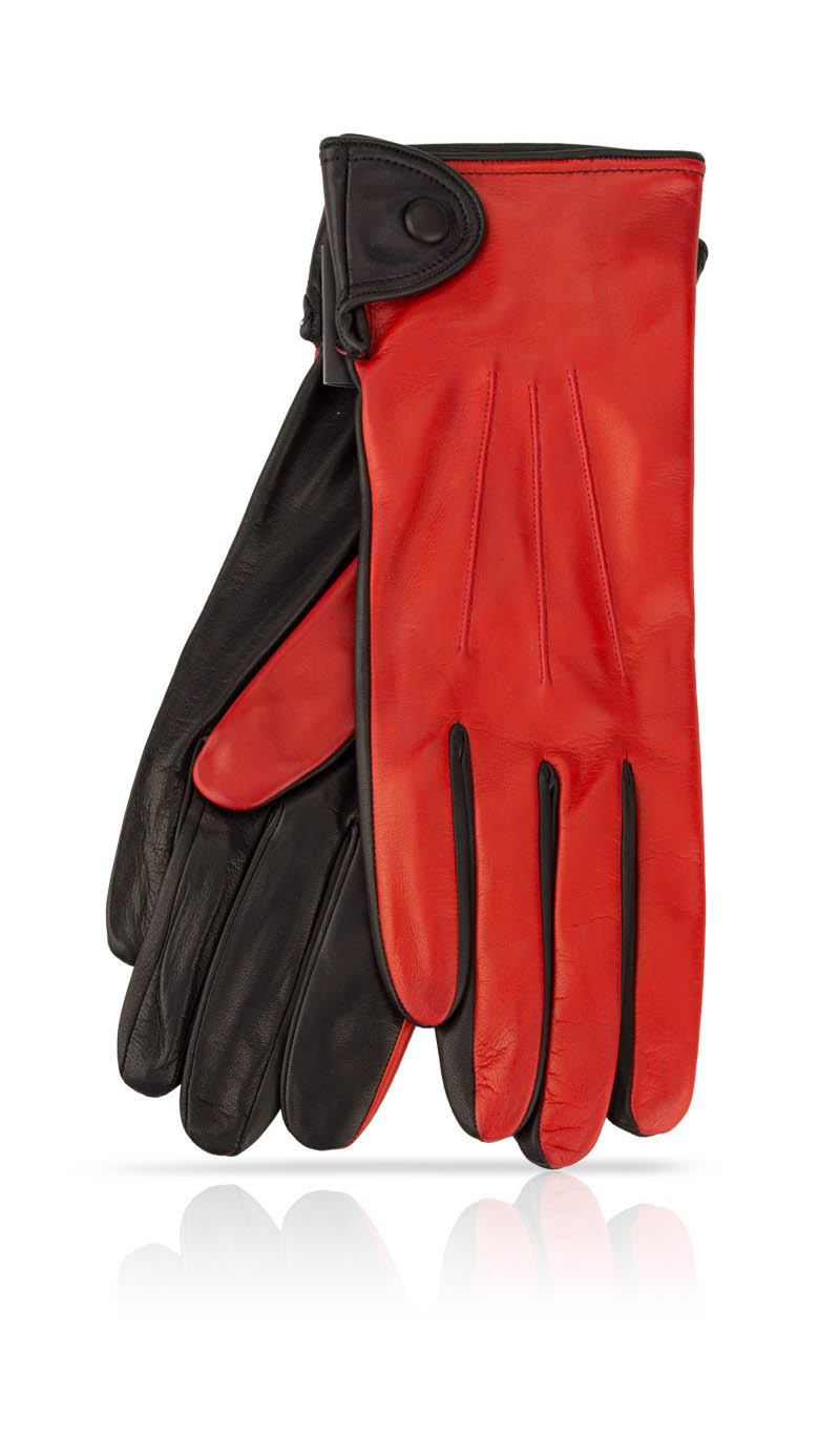 Women glove Caroline Fod. Silk Valentino Red/Black